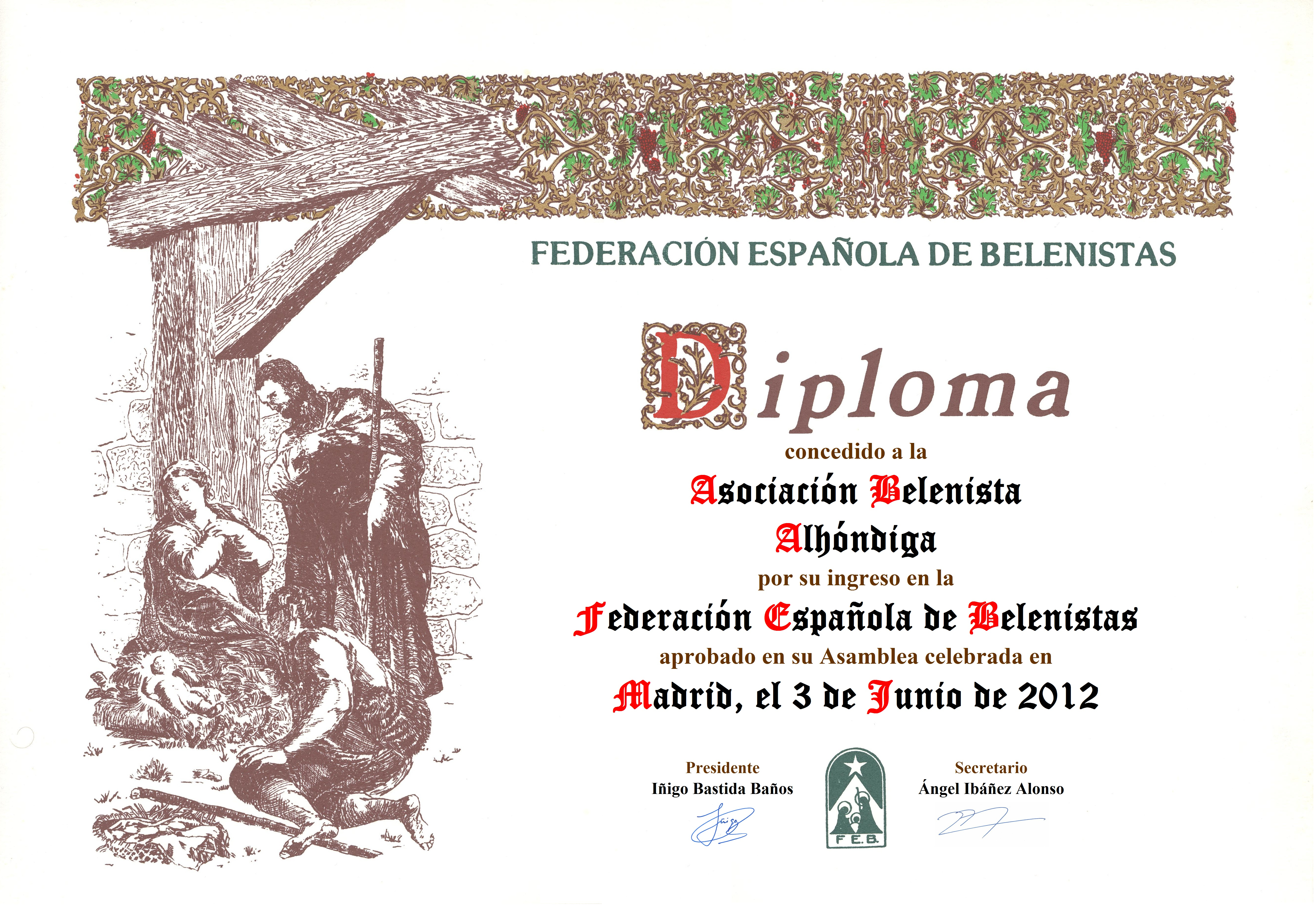 Diploma de entrada en la FEB de la Asociación Belenista Alhóndiga Getafe