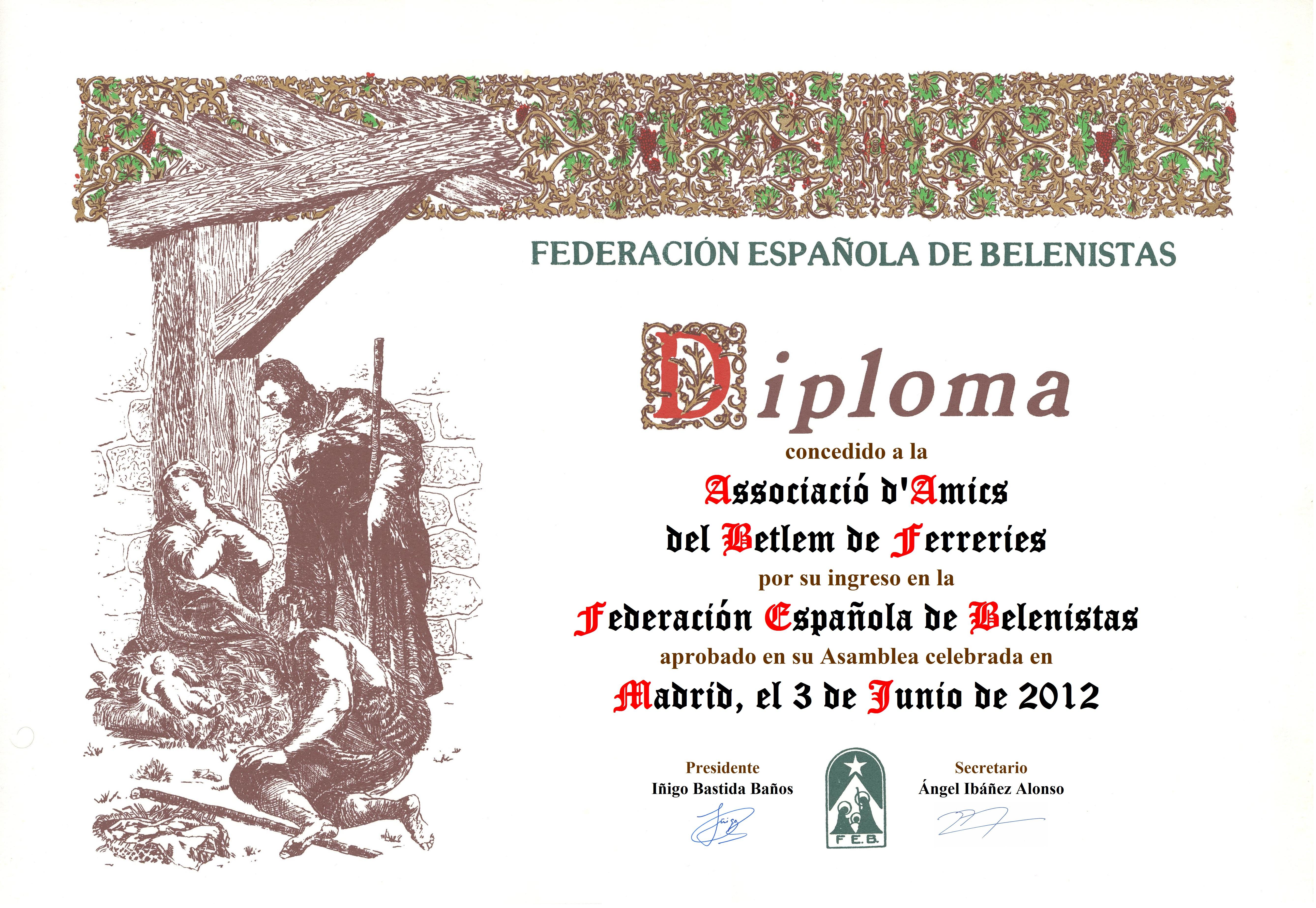 Diploma de entrada en la FEB de la Associació d'Amics del Betlem de Ferreries