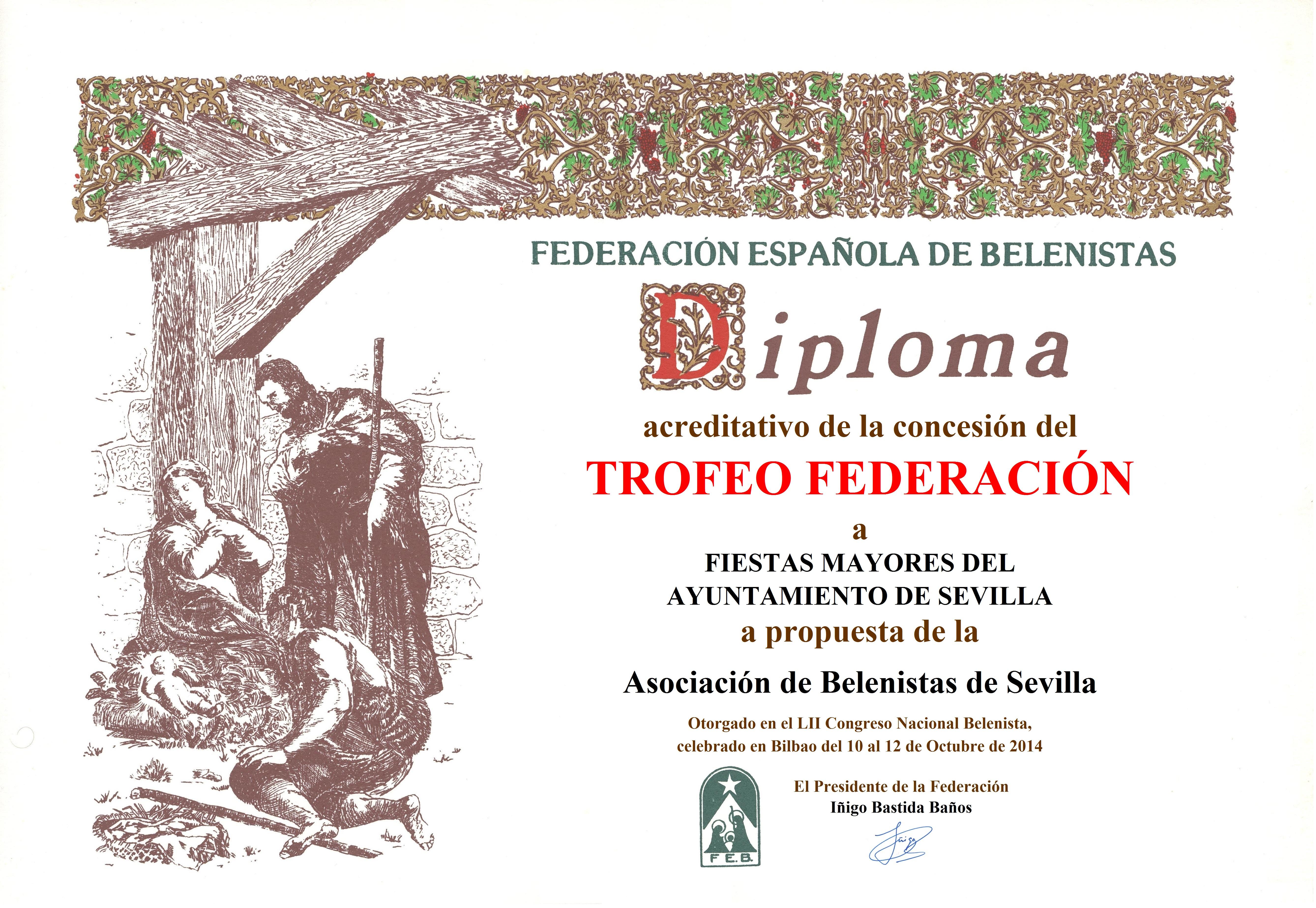 Diploma Trofeo FEB 2014 Fiestas Mayores del Ayuntamiento de Sevilla