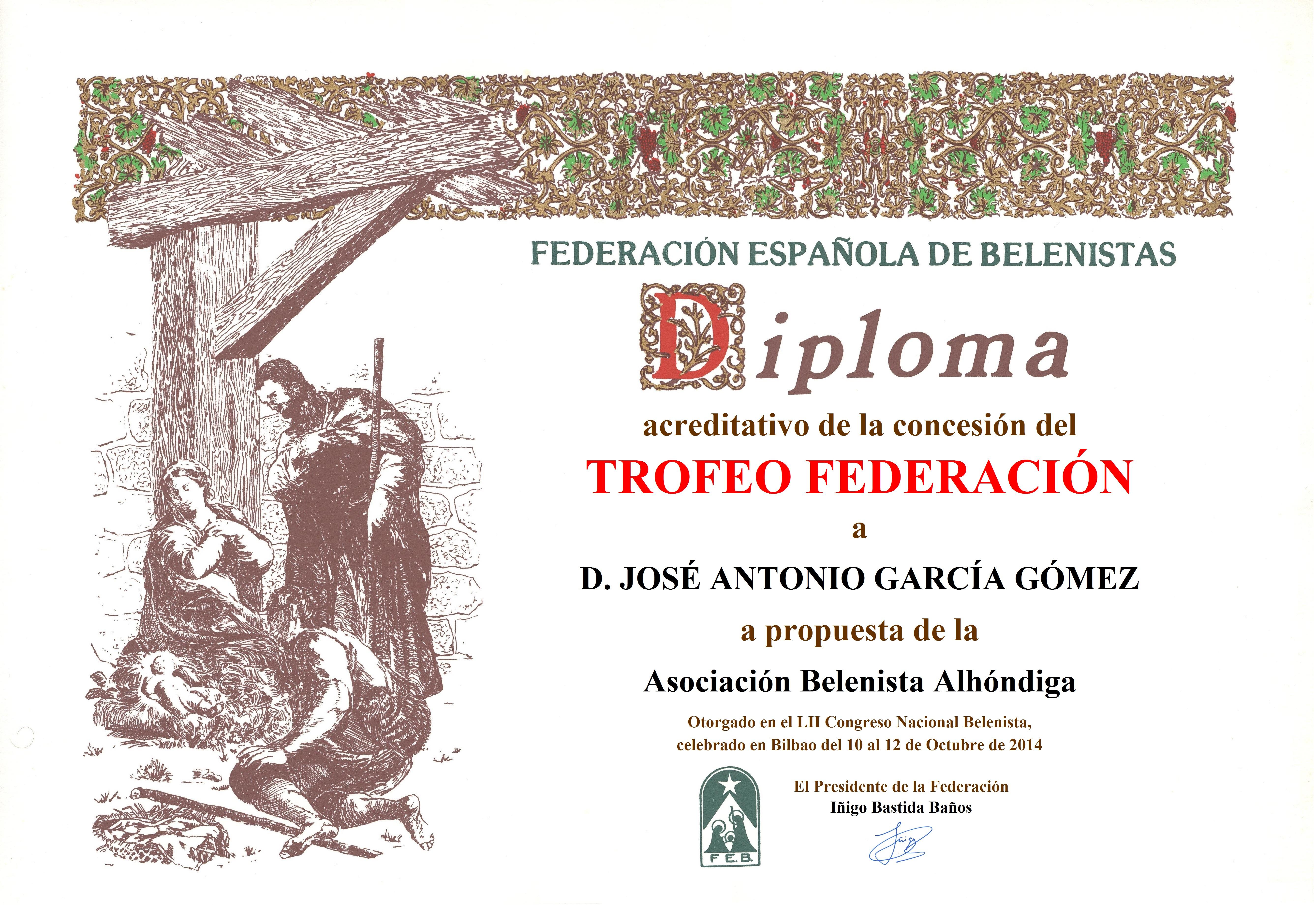 Diploma Trofeo FEB 2014 José Antonio García Gómez