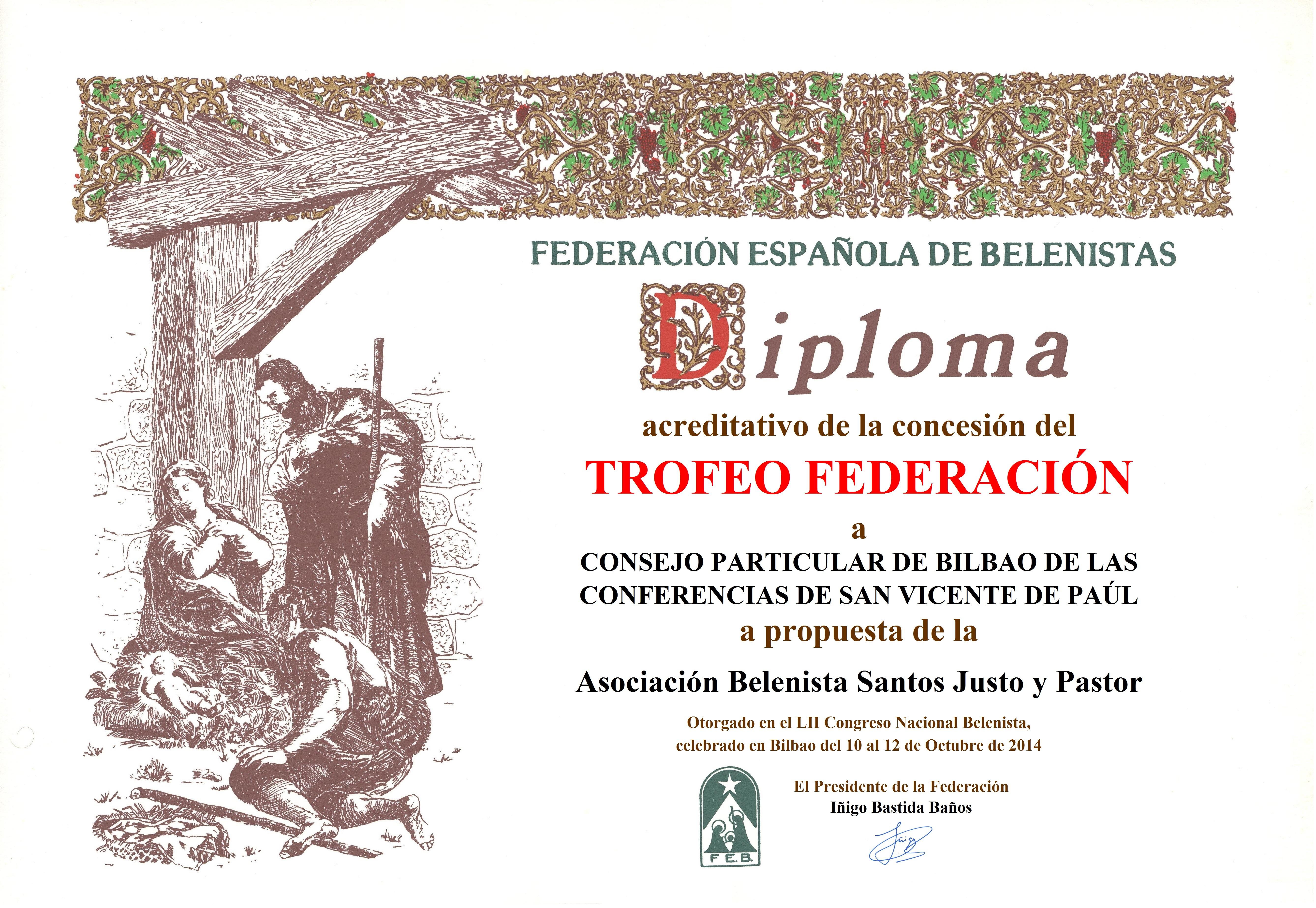 Diploma Trofeo FEB 2014 Consejo Particular de Bilbao de las Conferencias de San Vicente de Paúl España