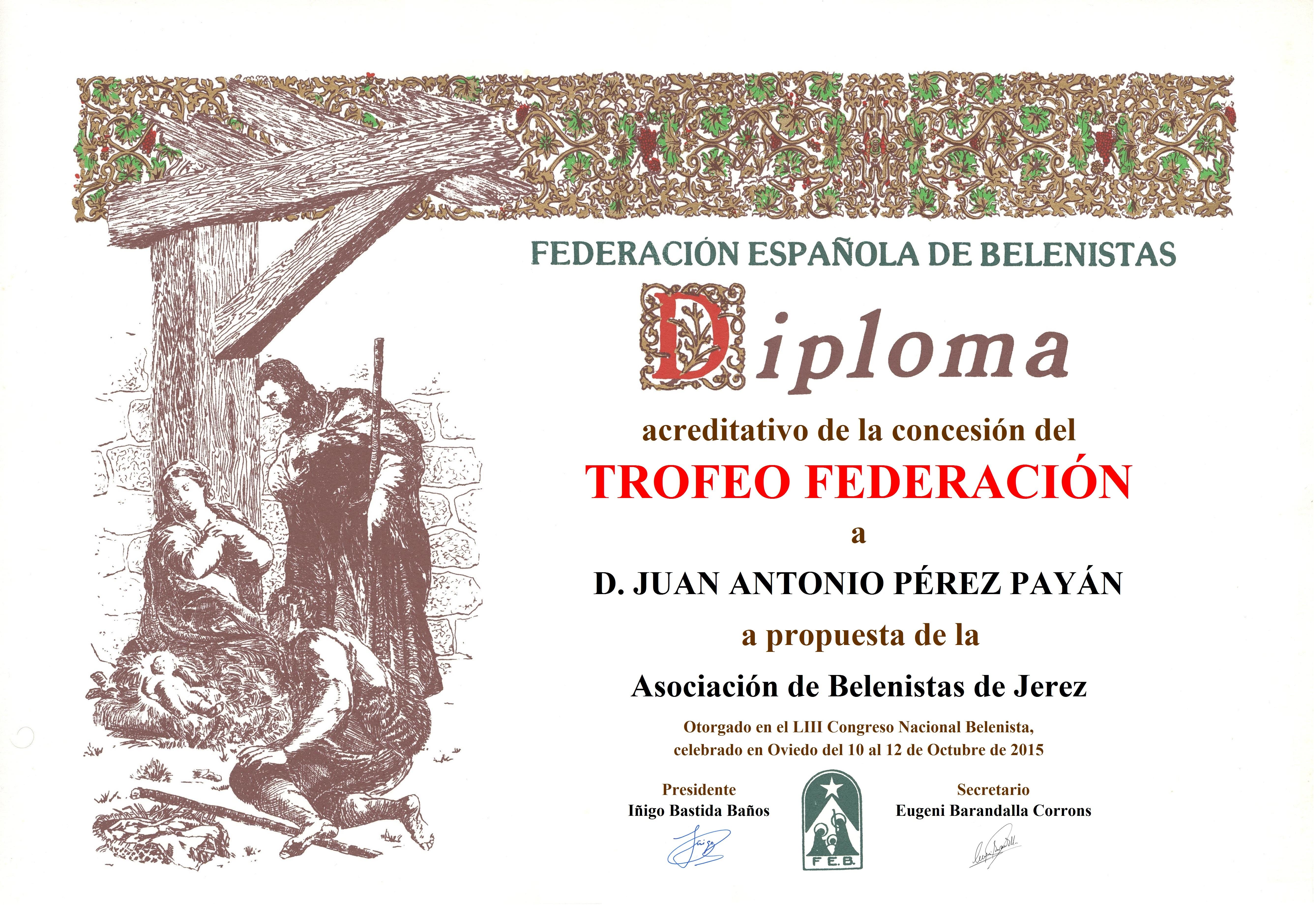 Diploma Trofeo FEB 2015 Juan Antonio Pérez Payán