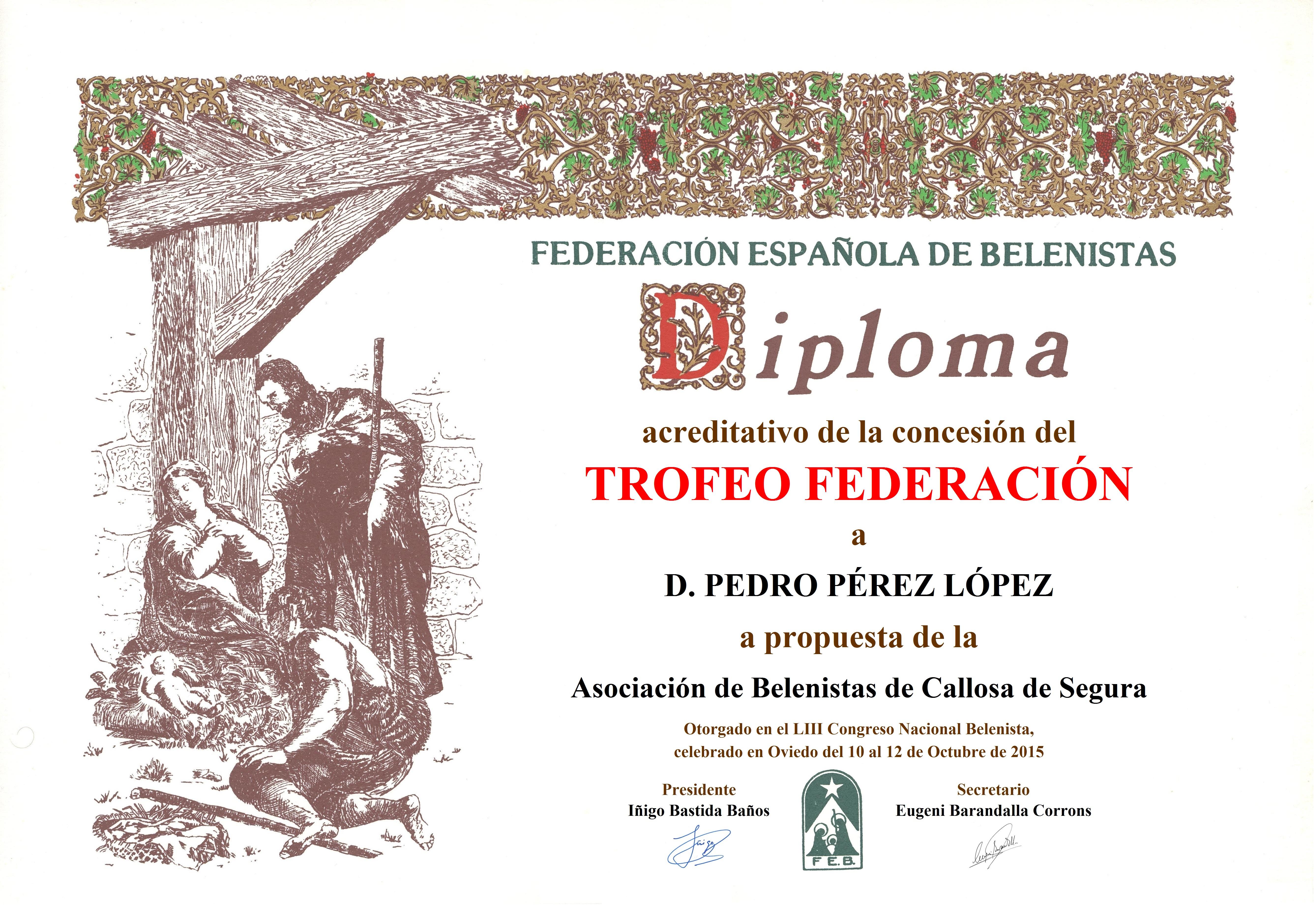 Diploma Trofeo FEB 2015 Pedro Pérez López