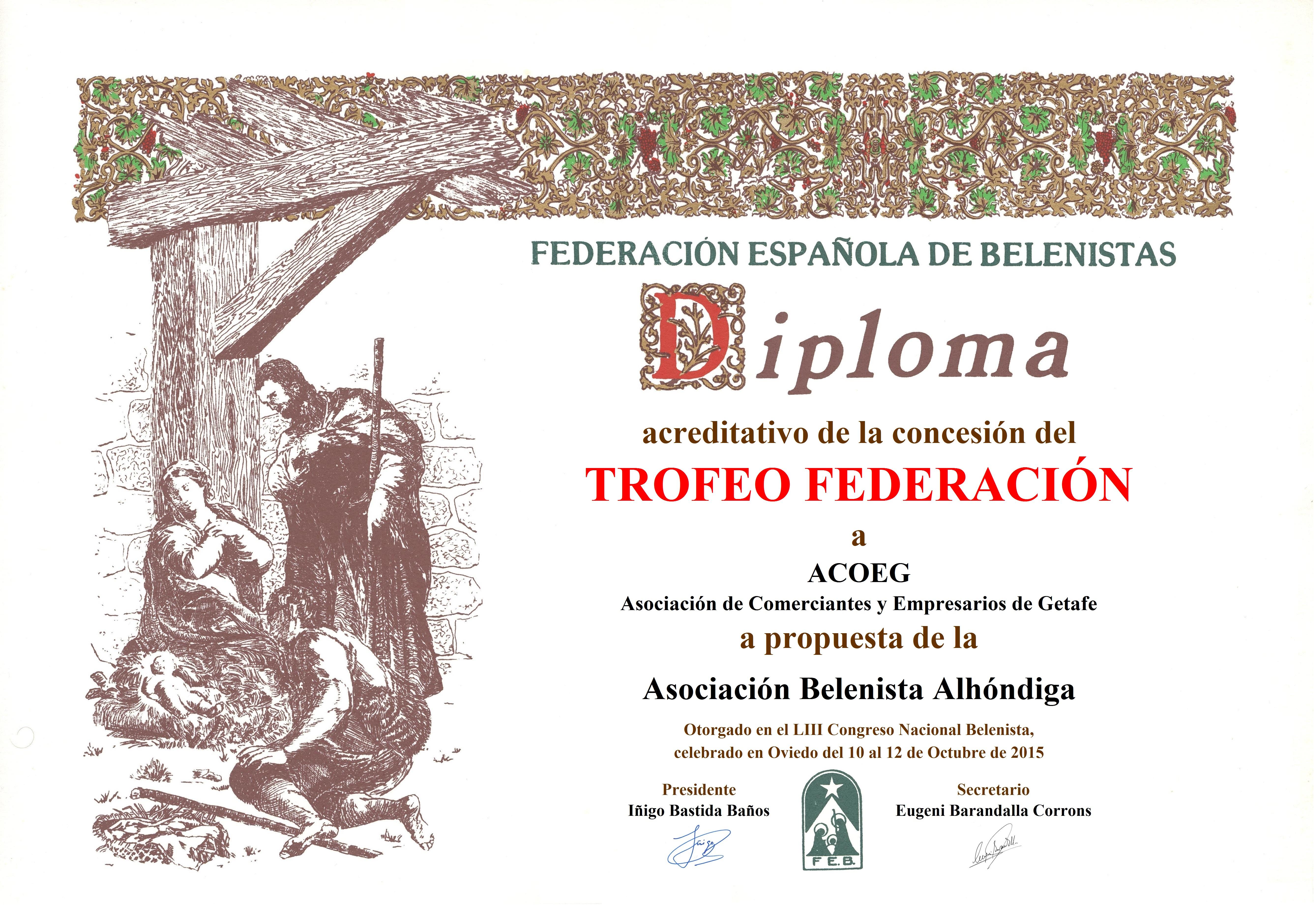 Diploma Trofeo FEB 2015 ACOEG Asociación de Comerciantes y Empresarios de Getafe