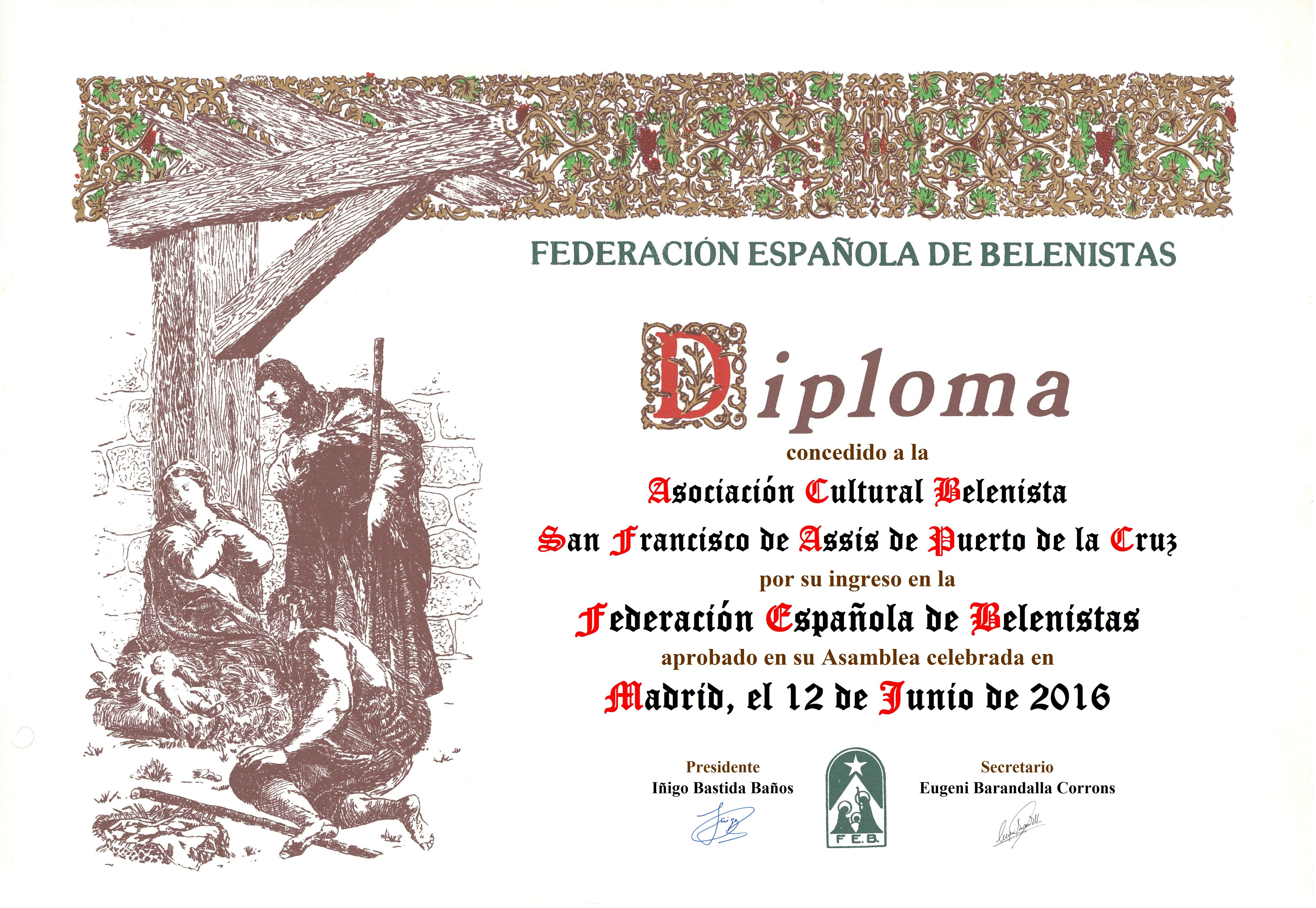 Diploma de entrada en la FEB de la Asociación Cultural Belenista San Francisco de Assis de Puerto de la Cruz