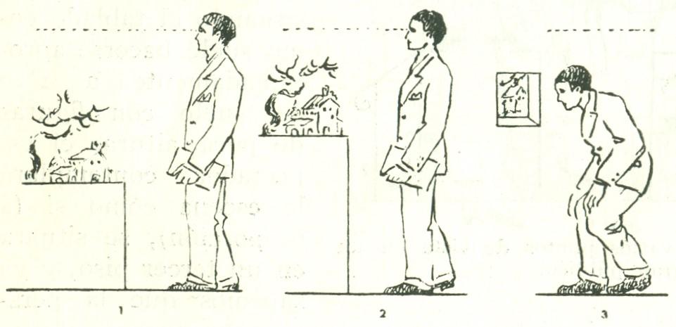 La primera es defectuosísima, la segunda es defectuosa y la tercera, en donde se representa un pesebre bajo, con visera, es incómoda, por la posición violenta a que obliga al espectador.