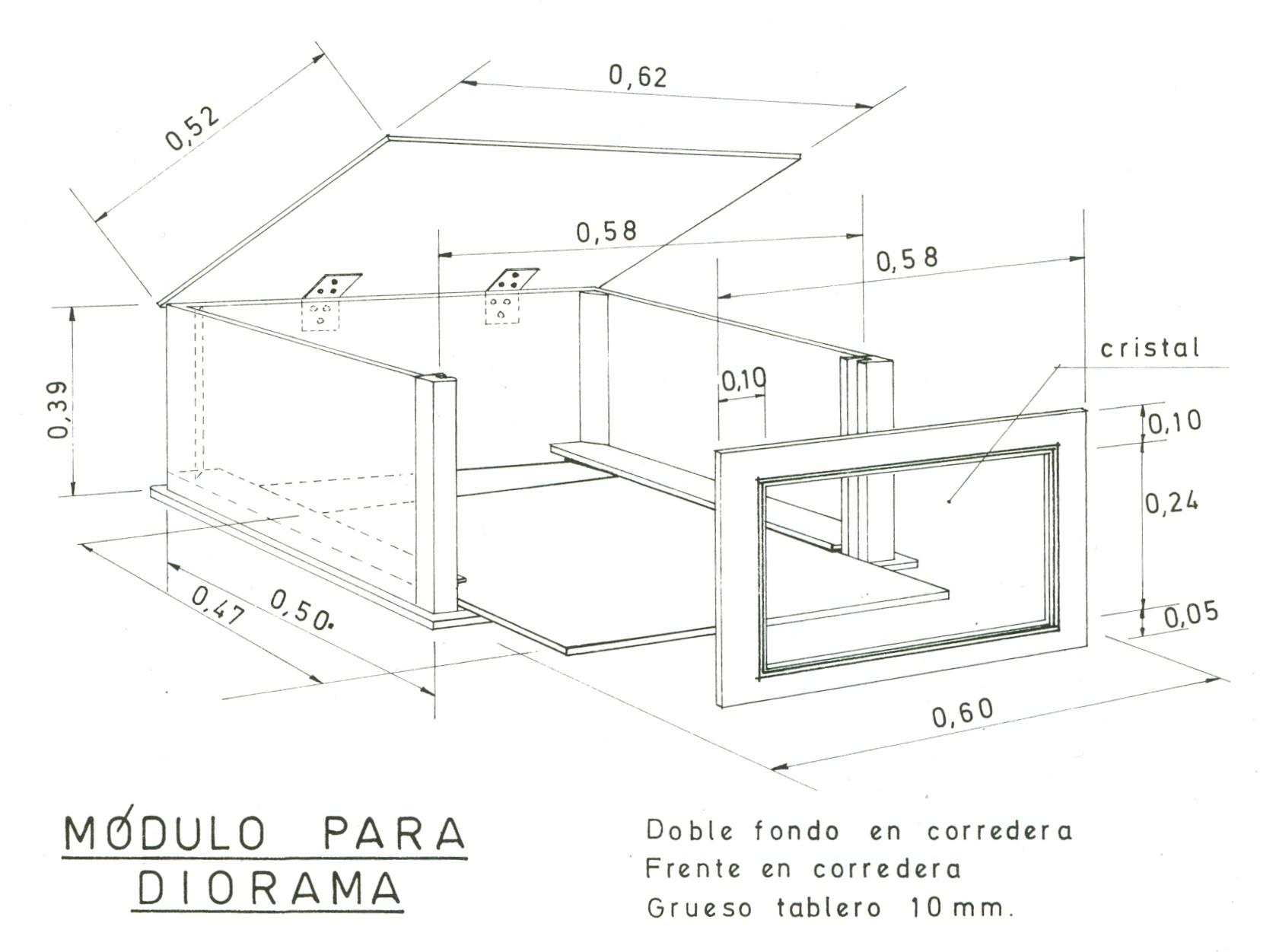 Boceto para módulo de diorama para la Exposición Itinerante de la FEB