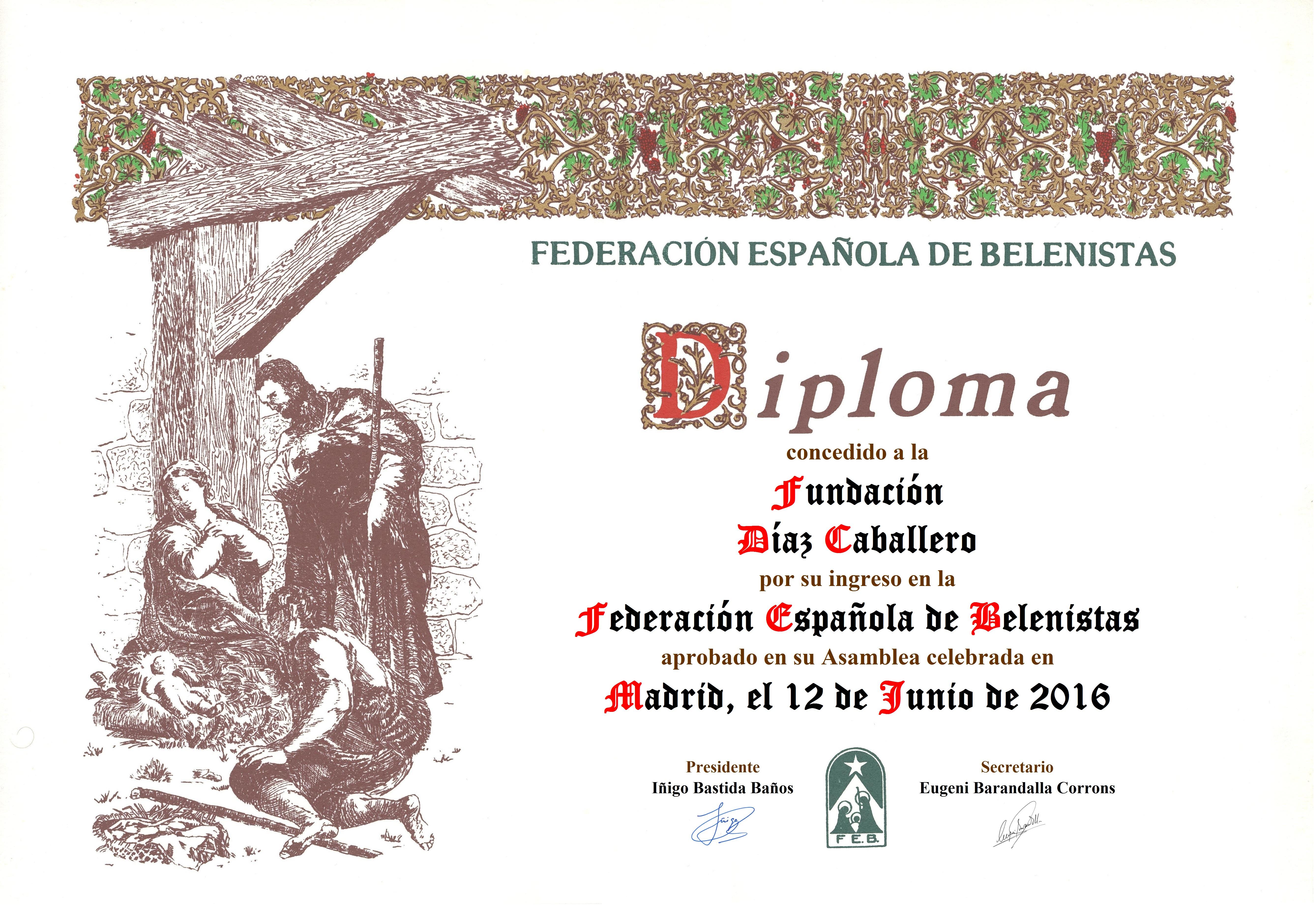 Diploma conmemorativo de la entrada de la Fundación Díaz Caballero en la FEB