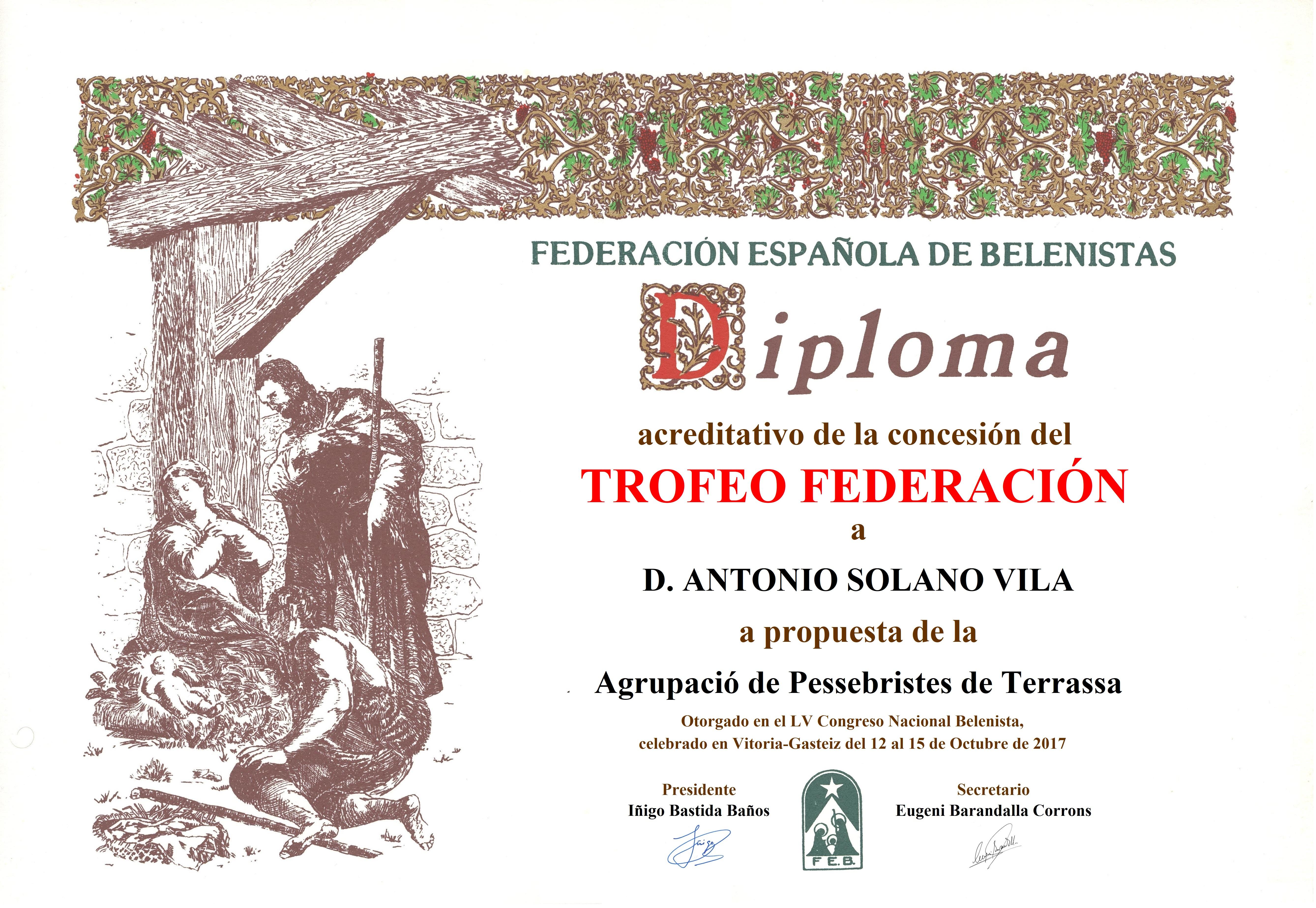 Antonio Solano Vila – Diploma Trofeo FEB 2017