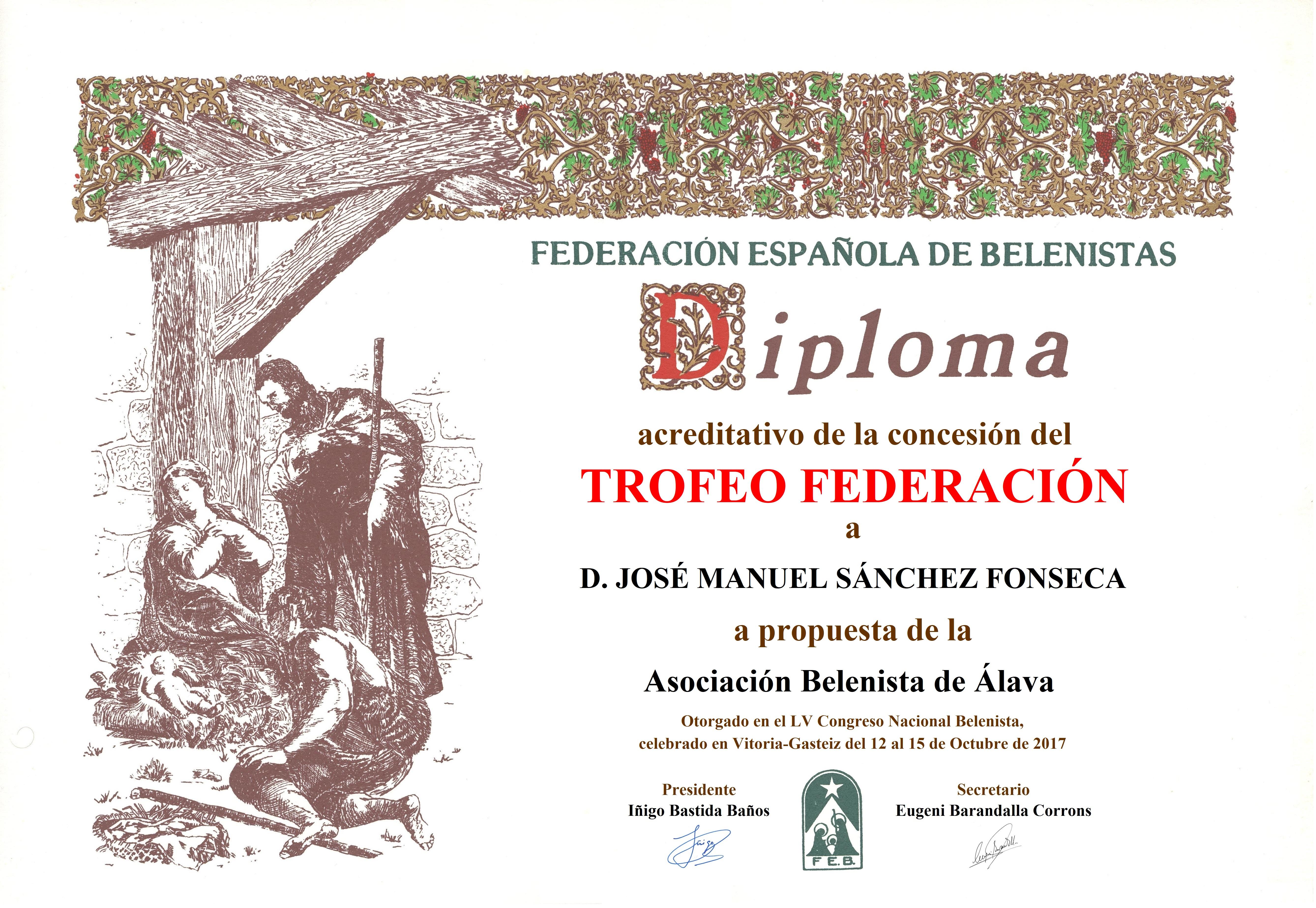 José Manuel Sánchez Fonseca - Diploma Trofeo FEB 2017