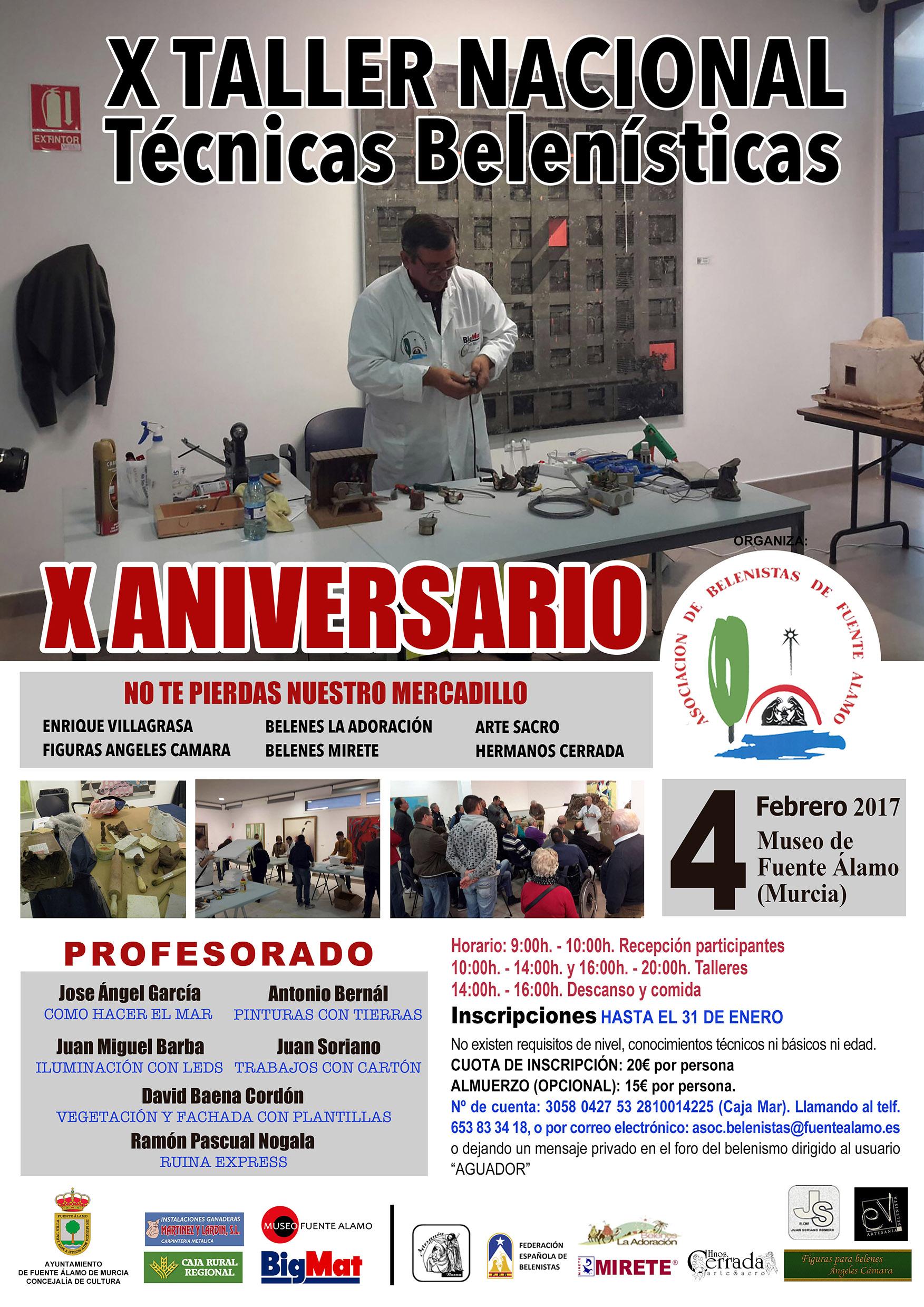 Cartel X Taller de Técnicas Belenistas - Asociación de Belenistas de Fuente Álamo