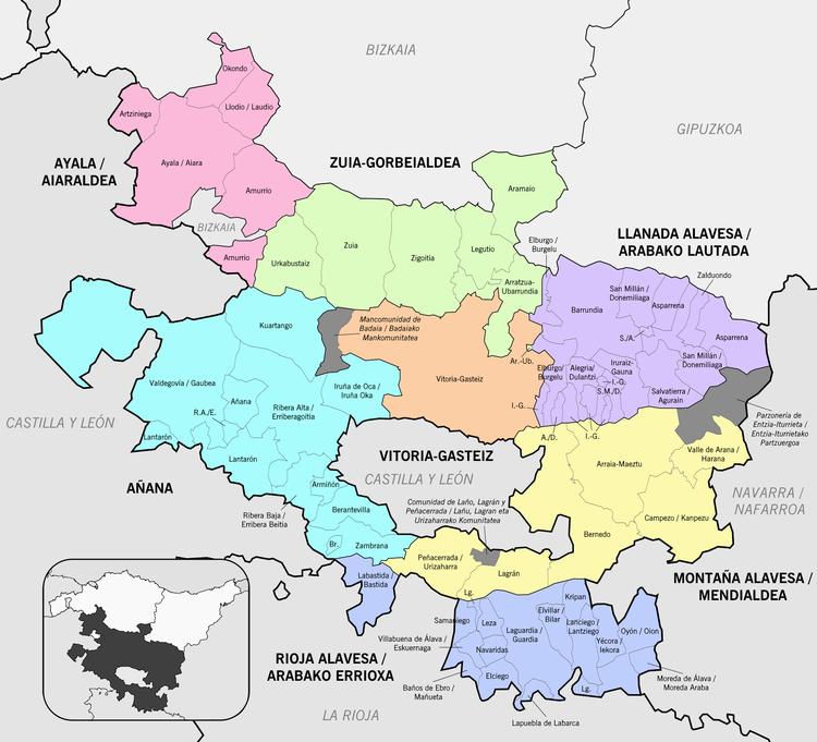 Mapa de Álava de 2017, con sus siete Cuadrillas: Campezo-Montaña Alavesa, Salvatierra-Llanada Alavesa, Zuia-Gorbeialdea, Ayala, Añana, Laguardia-Rioja Alavesa y Vitoria