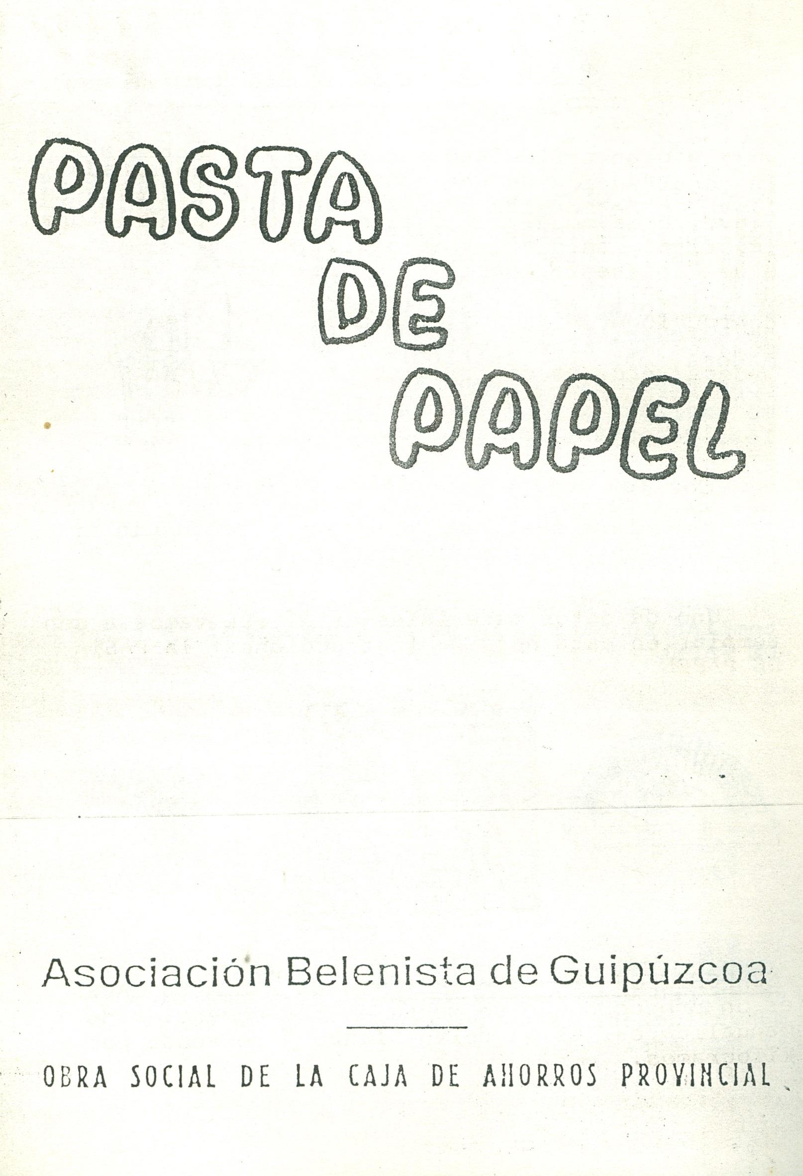 Portada del folleto Pasta de Papel