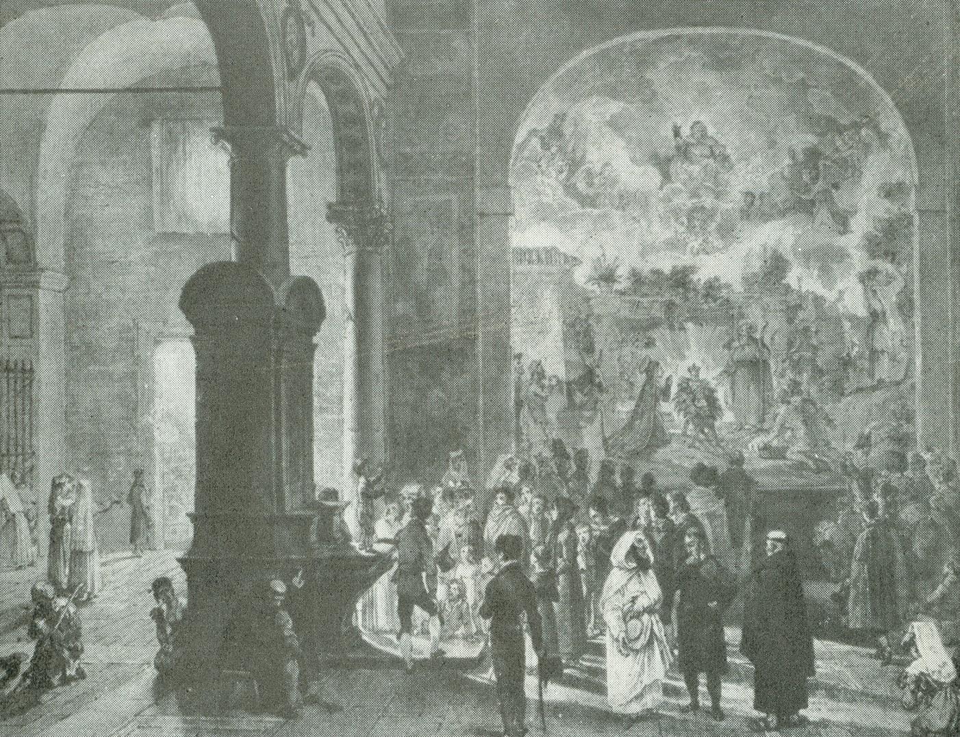 Roma. Interior del templo de Santa María d'Araceli. Los niños recitando ante el pesebre.