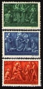 Sellos postales de Navidad. Hungría 1943.