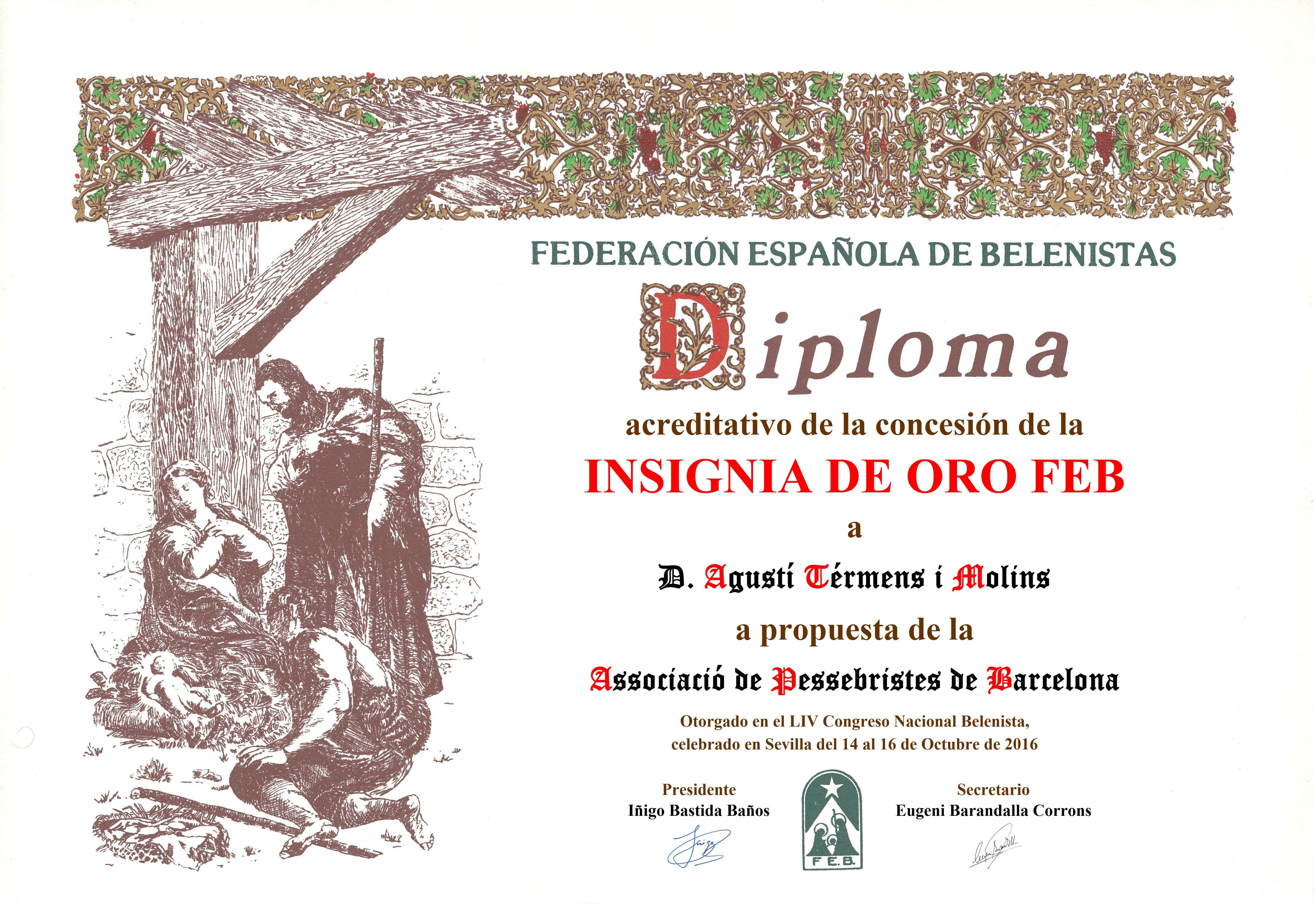 Agustí Térmens i Molins - Diploma Insignia de Oro FEB 2016