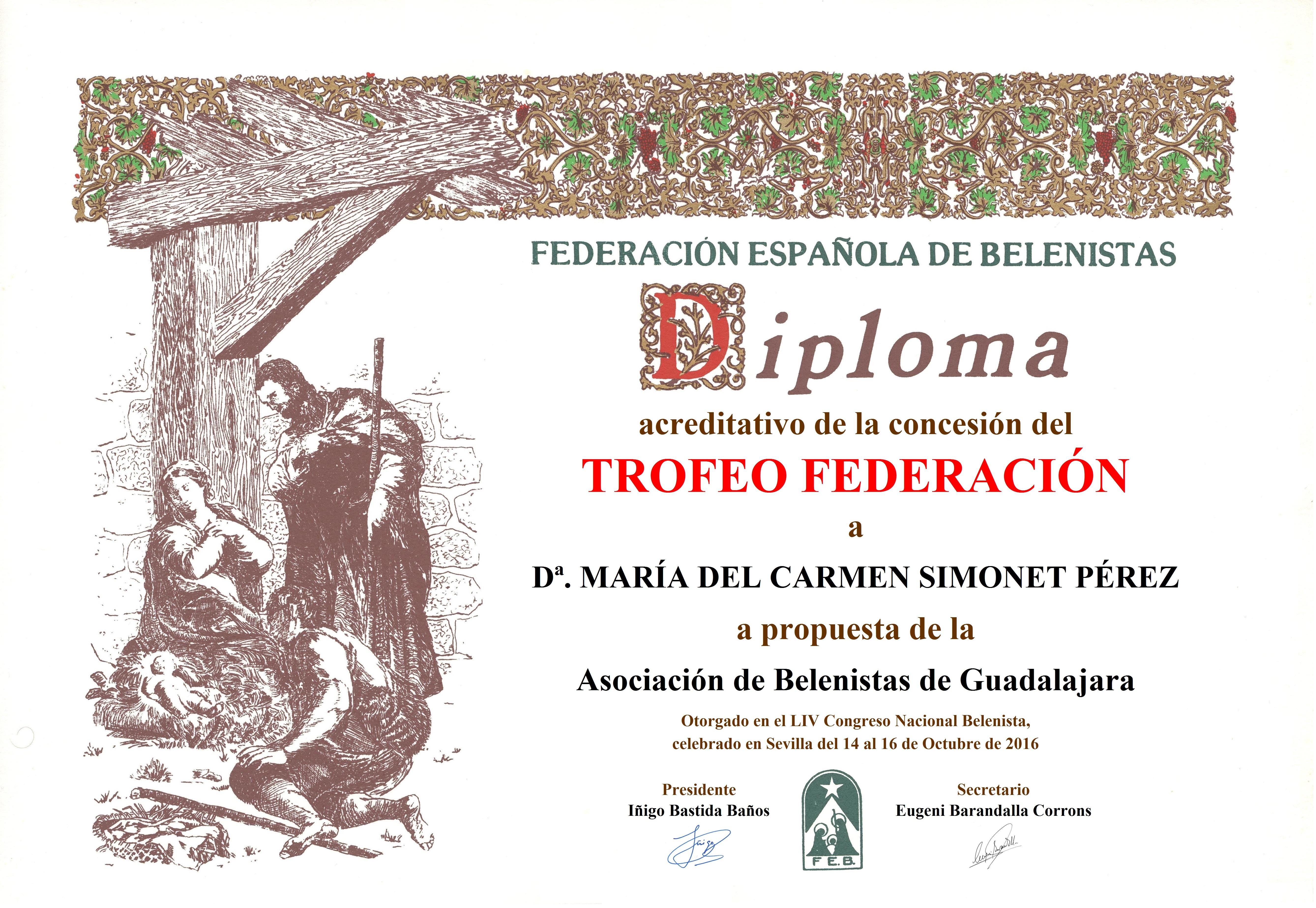 María del Carmen Simonet Pérez - Diploma Trofeo FEB 2016
