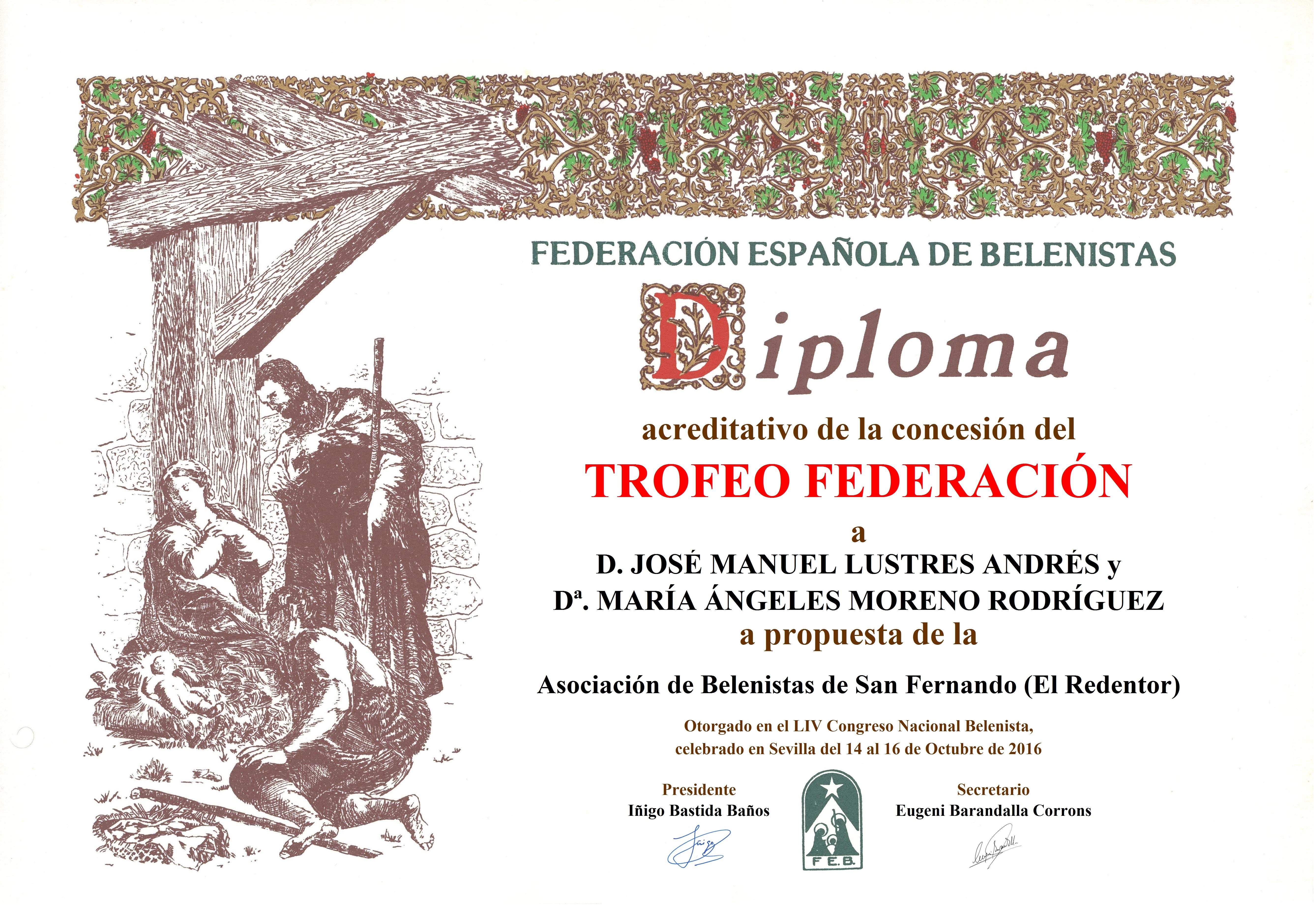 José Manuel Lustres Andrés y María Ángeles Moreno Rodríguez - Diploma Trofeo FEB 2016
