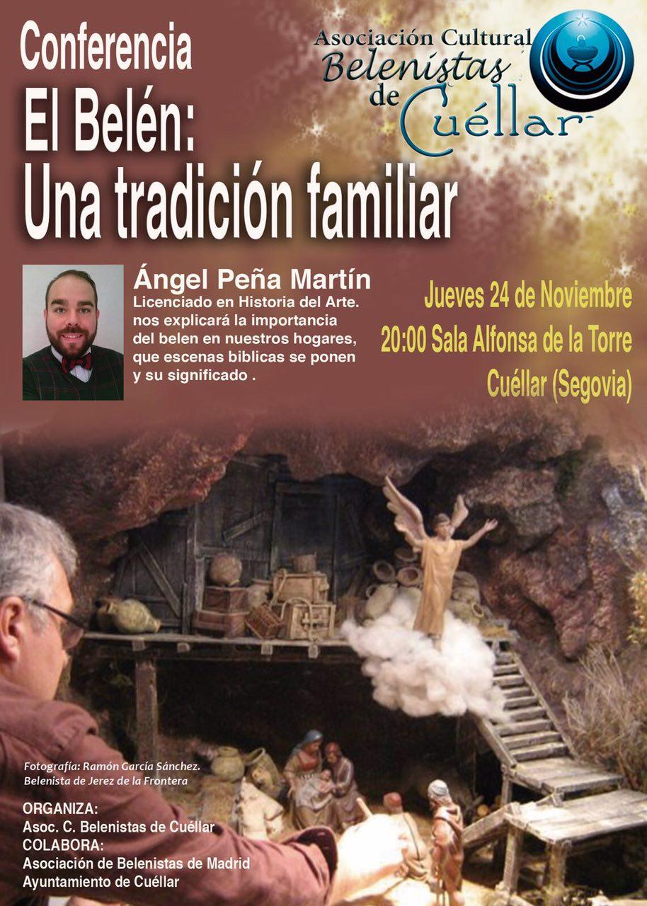 """Cartel Conferencia """"El Belén: Una tradición familiar"""" - Asociación Cultural Belenistas de Cuéllar"""