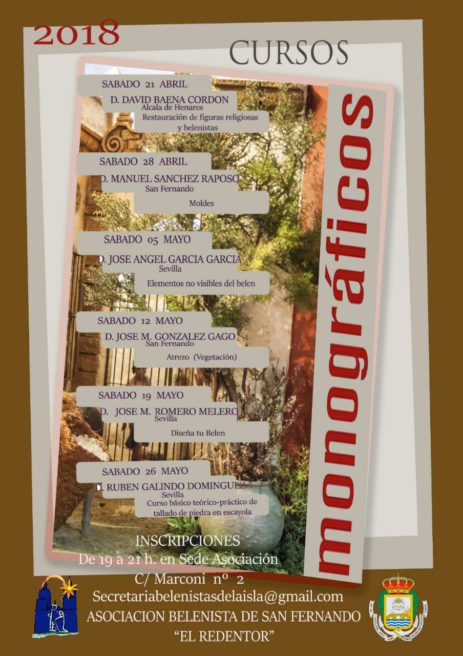 Cartel Cursos Monográficos 2018 - Asociación de Belenistas de San Fernando (El Redentor)