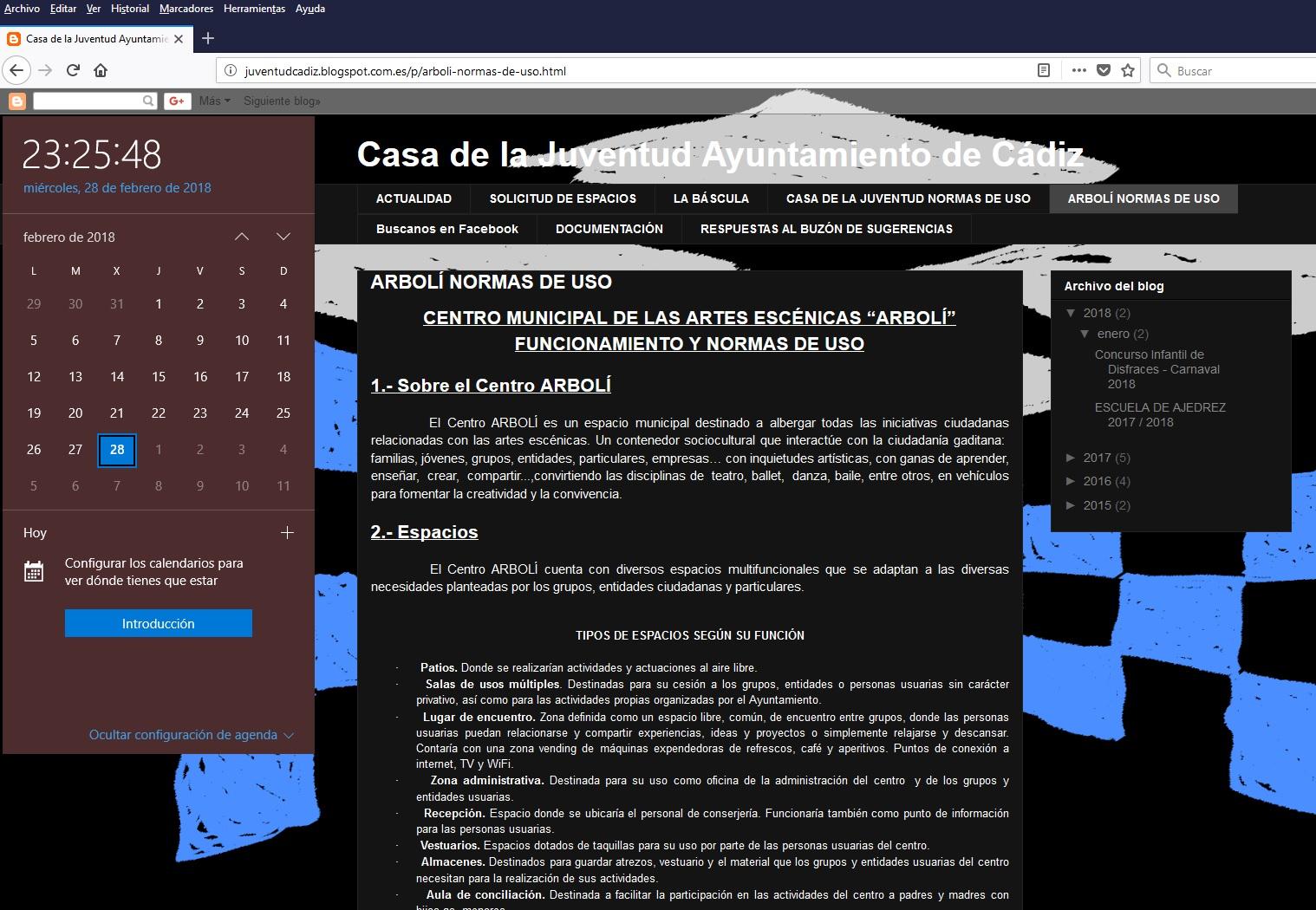 """Captura de pantalla de las normas de uso del Centro Municipal de las Artes Escénicas """"Arbolí"""" del Ayuntamiento de Cádiz, hecha hoy 28 de febrero de 2018 a las 23:25:48"""
