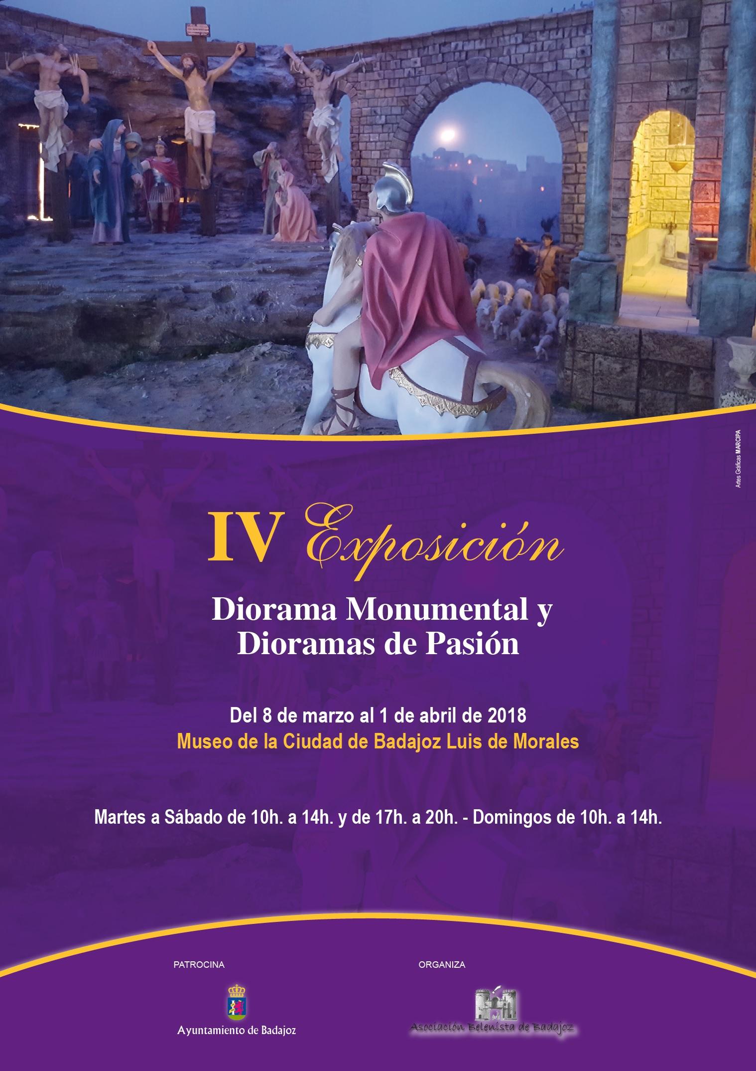 Cartel IV Exposición Diorama Monumental y Dioramas de Pasión - Asociación Belenista de Badajoz