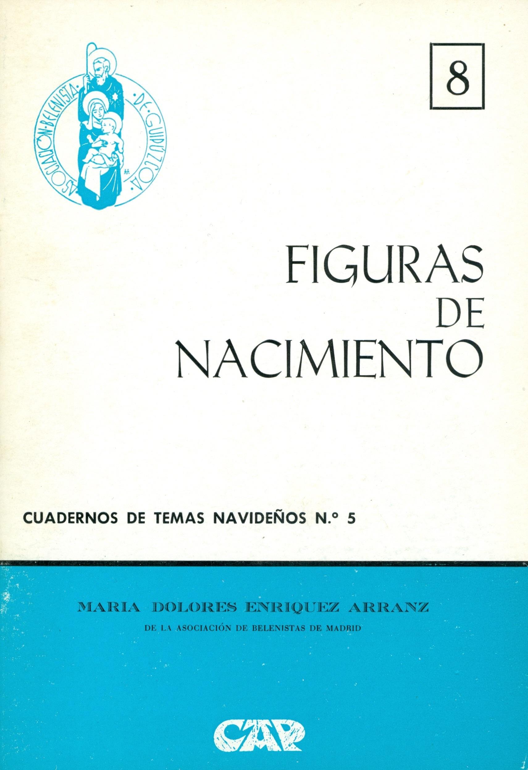 """Portada del Cuaderno de Temas Navideños nº 5, """"Figuras de nacimiento"""" escrito por María Dolores Enríquez Arranz y editado por la Asociación Belenista de Guipúzcoa (1975)"""